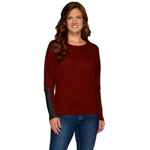 Lisa Rinna Sweater With Faux Leather Detail